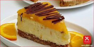 چیز کیک پرتقالی شکلاتی